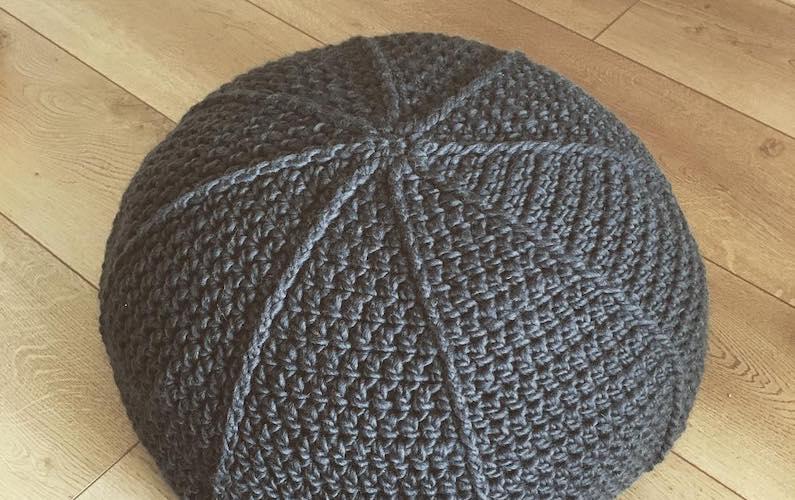 crocheted pouf