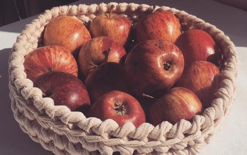 crocheted fruit basket