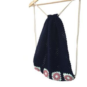 crocheted granny gym bag