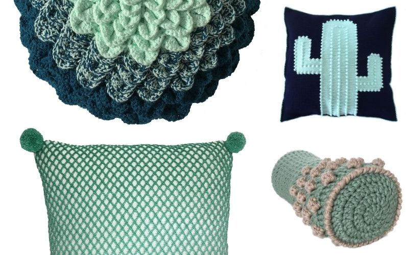 Crocheted Green Cushions